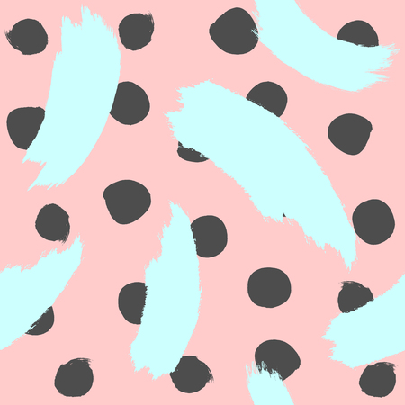 Repeated round spots and brush strokes. Watercolor seamless pattern. Sketch, grunge, paint. Pink, black, blue. Simple vector illustration.