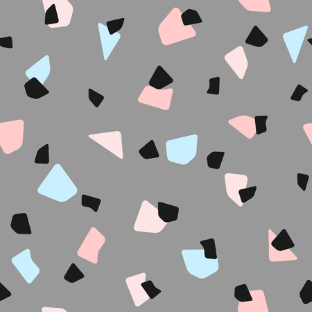 Seamless pattern with repeating different geometric shapes. Simple girly print. Gray, pink, blue, black. Vector illustration.