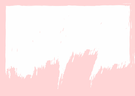 White grunge background with pink edges drawn by hand with rough brush. Paint, watercolor, sketch. Rectangular vector illustration.