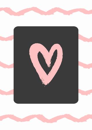 Vertical romantic print, poster, sticker. Grunge, graffiti, watercolour, sketch, paint. White, pink, black. Cute vector illustration. Illustration