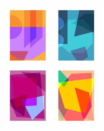 Set of rectangular colorful backgrounds with transparency. Collection of abstract templates for design. Trendy vector illustration.