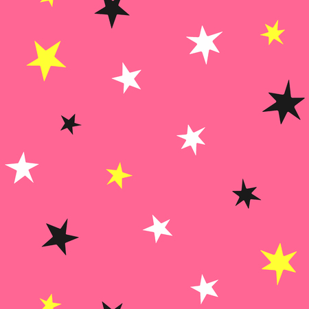 Bright seamless pattern with randomly scattered stars. Girly print. Purple, yellow, black, white. Simple vector illustration.