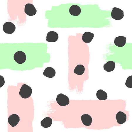 Repeated brush strokes and round spots. Abstract watercolor seamless pattern. Grunge, sketch, paint. White, pink, green, black. Vector illustration. Иллюстрация