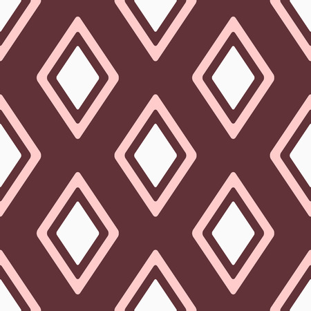 Feminine seamless pattern with repeating rhombuses. Simple geometric print for women. White, pink, brown. Vector illustration.