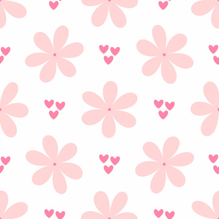 Repetitive flowers and small hearts. Cute girly seamless pattern. Simple vector illustration. White, pink, purple.