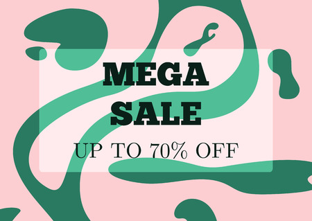 Trendy template for advertising with text Mega Sale Up To 70 % Off. Stylish vector illustration.