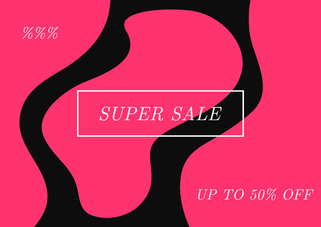 Template for store advertising with text Super Sale Up To 50 % Off. Stylish vector illustration. Black, purple, white. Иллюстрация