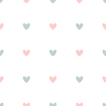 Repetitive pink and blue hearts on white background. Romantic seamless pattern. Cute vector illustration. Иллюстрация