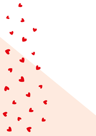 Simple romantic vertical background with hearts. Cute template for design. Vector illustration. Illustration