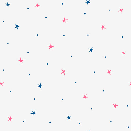 Randomly scattered small stars and dots. Cute seamless pattern. Simple vector illustration.