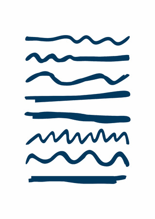 Set of blue underlines drawn by hand. Rough horizontal and wavy lines. Sketch, doodle, scribble. Vector illustration.