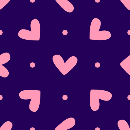 Repeating hearts and dots. Romantic seamless pattern. Cute vector illustration.