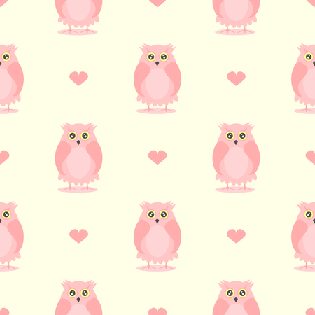 Seamless pattern with cute owls and hearts. Stylish girl print. Vector illustration.