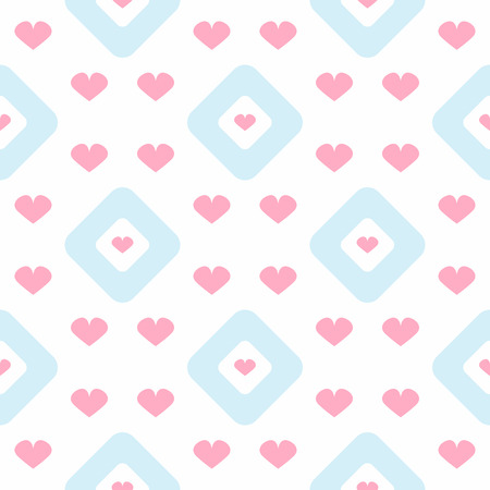 Repetitive hearts and rhombuses. Romantic seamless pattern. Simple vector illustration. Иллюстрация