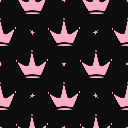 Repeated crowns and stars. Girly seamless pattern. Simple vector illustration. Archivio Fotografico - 127668768