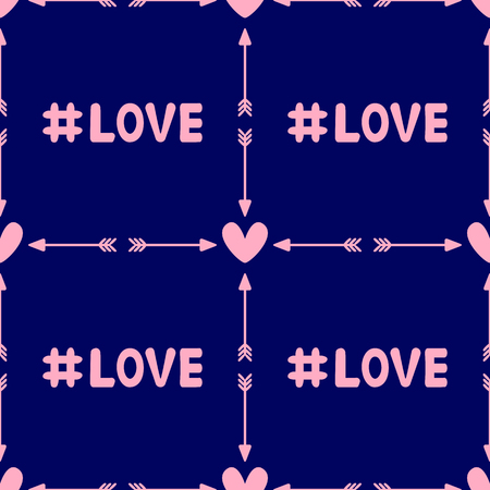 Repeating hearts with arrows and hashtag Love. Romantic seamless pattern. Vector illustration. Иллюстрация