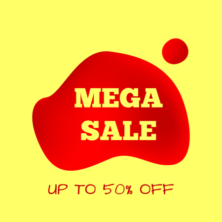 Square banner Mega Sale. Promotional template Up To 50% Off. Vector illustration. Red and yellow colors.