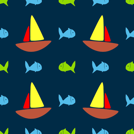 Cute seamless pattern with colored fish and sailboats. Beach print for children. Simple vector illustration. Illustration