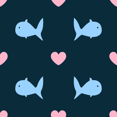 Girly seamless pattern with abstract fish and hearts. Simple cute print. Vector illustration.