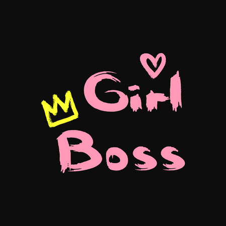 Text Girl Boss, heart and crown drawn by rough brush. Stylish girl print. Grunge, watercolor, sketch, paint. Vector illustration. Иллюстрация