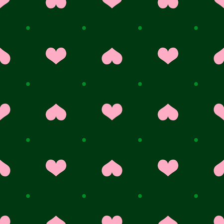 Repetitive hearts and polka dot. Romantic seamless pattern. Simple vector illustration.
