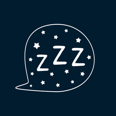 Speech bubble with stars and text ZZZ. Sketch, doodle, drawn by hand. Isolated vector illustration. White, blue.