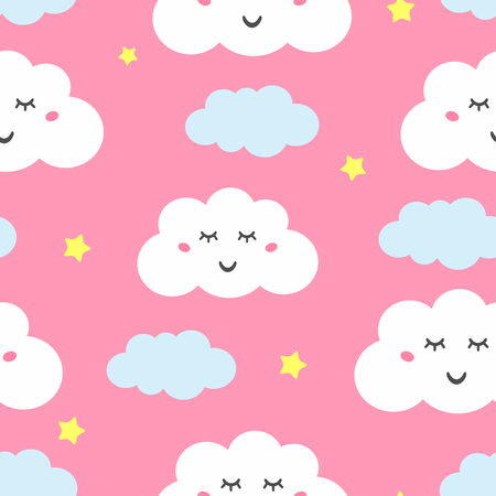 Seamless pattern with cute sleepy clouds and stars. Pajama print. Vector illustration.