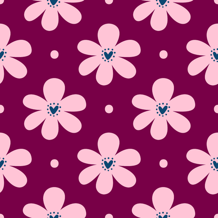 Cute flowers with hearts and round dots. Cute floral seamless pattern. Simple vector illutration.