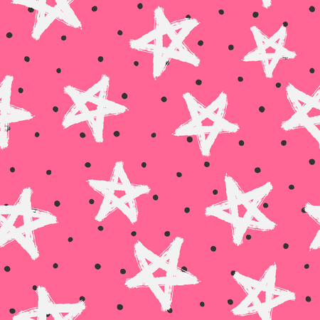 Round spots and stars drawn by hand with a rough brush. Sketch, watercolour, paint, grunge. Stylish vector illustration. Black, pink, white.