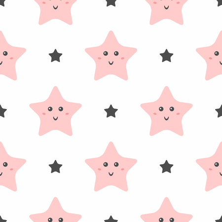 Seamless pattern with cute smiling stars. Pajama print for girls. Simple vector illustration.