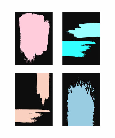 Set of vertical dark backgrounds with colored brush strokes. Sketch, grunge, watercolor, paint. Vector illustration.