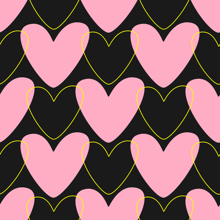 Simple seamless pattern with hearts. Cute print drawn by hand. Romantic vector illustration. Black, pink, yellow.  Иллюстрация