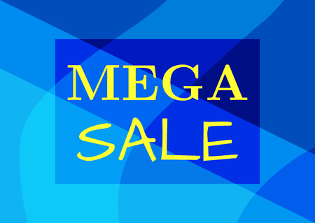 Rectangular banner with text Mega Sale. Advertising for stores. Vector illustration.