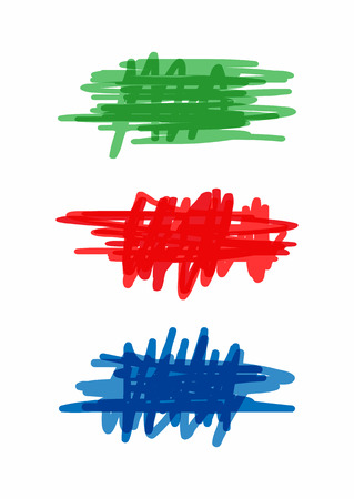 Set of colored scribbles. Isolated elements with chaotic lines drawn by hand. Green, red, blue. Vector illustration. Illustration