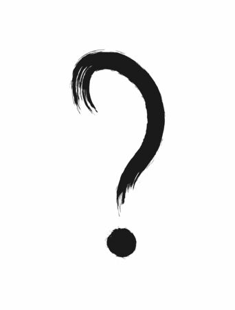 Question mark painted with watercolor brush. Grunge icon, symbol. Vector illustration.