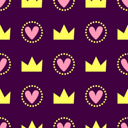 Romantic seamless pattern. Repeating cute print with crowns and hearts. Simple vector illustration. Vettoriali
