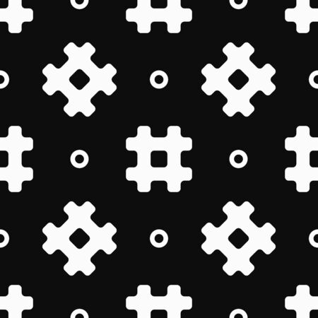 Simple seamless pattern with hashtag symbols and circles. White elements on a black background. Çizim