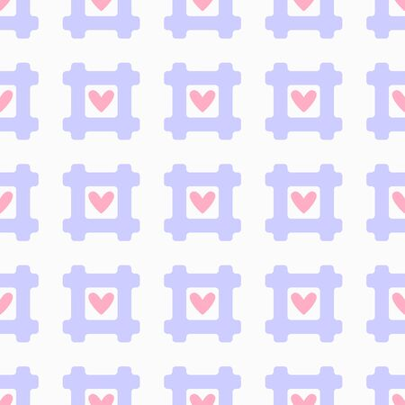 Romantic seamless pattern with hashtags and hearts. Cute girl print. Çizim
