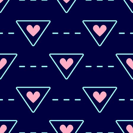 Romantic seamless pattern with hearts and geometric elements. Nice print. Vector illustration.