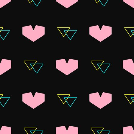 Seamless pattern with hearts and triangles. Cute print. Romantic vector illustration. Çizim