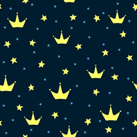 Seamless pattern with crowns, stars and round spots. Cute print for kids. Vector illustration.