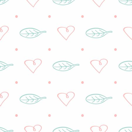 Cute seamless pattern with dots, leaves and hearts drawn by hand. Doodle, sketch. Simple romantic print. Vector illustration.