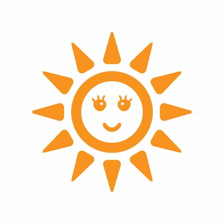 Silhouette of sun with a smiling face. Isolated icon, symbol. Flat vector illustration.