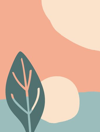 Vertical abstract background with geometric shapes and plant leaf. Paint, watercolor, sketch. Modern vector illustration.