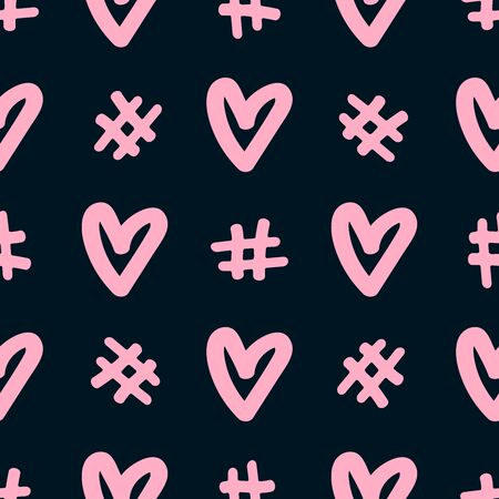 Seamless pattern with hashtags and hearts drawn by hand. Doodle, sketch. Simple, romantic print. Vector illustration.