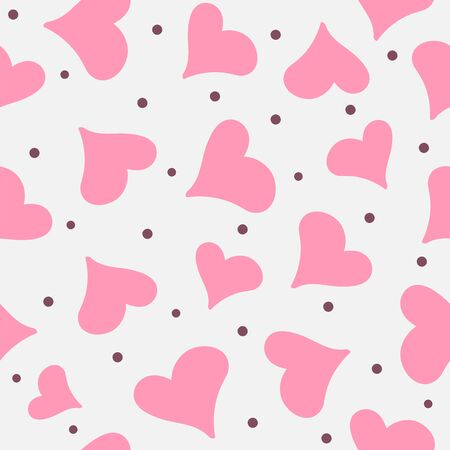 Romantic seamless pattern with randomly scattered hearts and dots. Cute vector illustration. Çizim