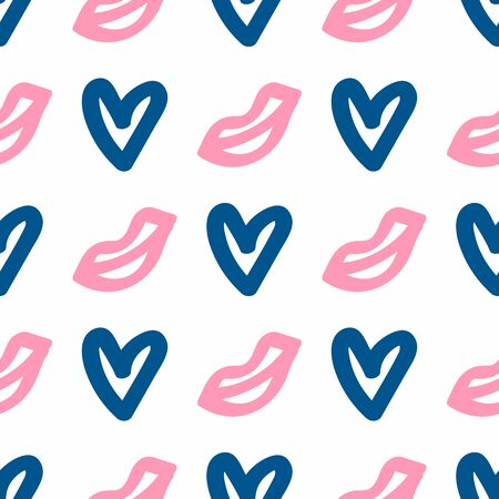 Seamless pattern with hearts and lips drawn by hand. Doodle, sketch. Girl vector illustration.