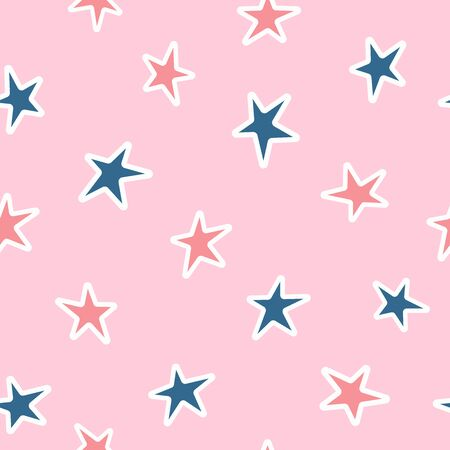 Simple seamless pattern with scattered stars. Girly vector illustration.