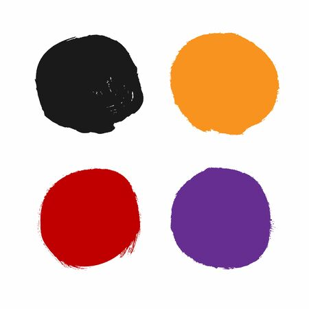 Set of colored watercolor circles. Collection of round spots painted with a rough brush. Grunge, sketch, ink. Vector illustration.