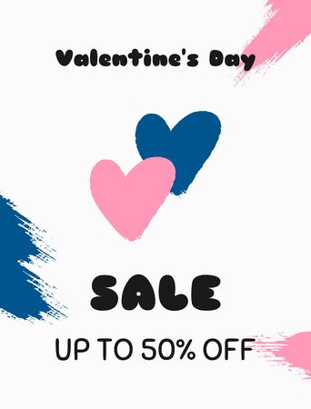 Valentines day holiday sale. Brush stroke, watercolour, paint. Vector illustration.